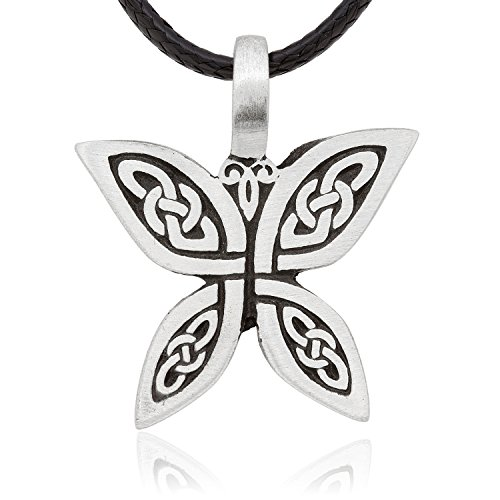 Dan's Jewelers Celtic Butterfly Necklace Pendant with Irish Knot Design, Fine Pewter Jewelry