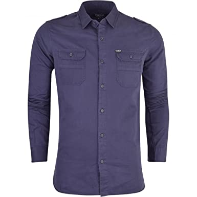83df5a311b2 Mens Firetrap Pittson Long Sleeved Collared Shirt Plain Smart Casual Cotton  Top Pockets  Amazon.co.uk  Clothing