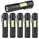 MODOAO COB LED Flashlights, Super Bright 200 Lumens Zoomable Work Light,Waterproof Pocket Lights with Cilp-6 Pack