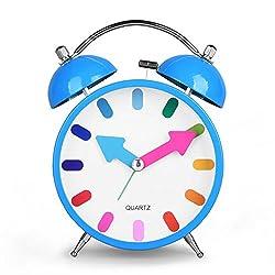 HENSE Smart Nightlight Alarm Clock, 4 inch Twin Bell Silent Quartz Analog Non-ticking Bedside Colorful Display Alarm Clock with Loud Alarm HA10 (Blue)