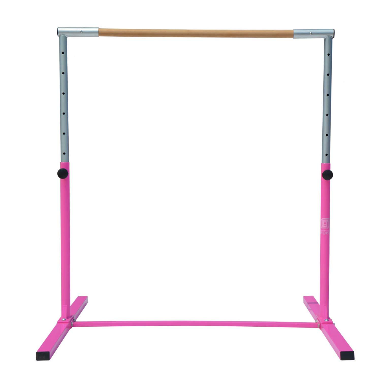 Modern-Depo Junior PRO Gymnastics Kip Bar | Adjustable (3'- 5') Training Horizontal Bar Beech Wood - Pink by Modern-Depo (Image #5)