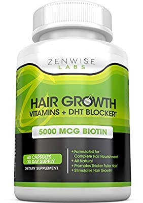 Hair Growth Vitamins Supplement & DHT Blocker - 5000mcg of Biotin from Zenwise Labs