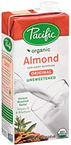 Pacific Foods Organic Almond Non-Dairy Beverage, Unsweetened Original, 32-Ounce, (Pack of 12)