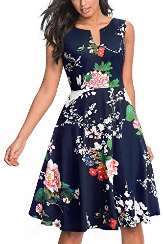Fit Flare - HOMEYEE Women's Casual Sleeveless Floral Fit Flare Dress A091(8,Dark Blue + Floral)