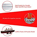 """WISESTAR 32.2"""" L Large Titanic 3D Puzzles Model for Adults and Kids, 116PCS Sinking Cruise Boat Ship Play Model Game Toy Craft Kits, Educational Toy Birthday Gift for Boys Girls"""