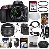 Nikon D5600 Wi-Fi Digital SLR Camera & 18-140mm VR DX AF-S + 35mm f/1.8 G DX AF-S Lens + 64GB Card + Case + Flash + Battery & Charger + Tripod Kit