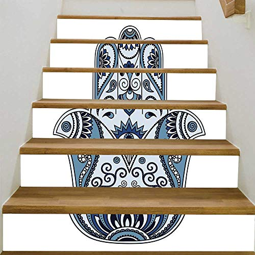 Civilization Sticker - YOLIYANA Hamsa Stair Tread Stickers,Mystical Ancient Civilizations Culture Protective Power Luck Evil Eye for Stairs Decal,39.3