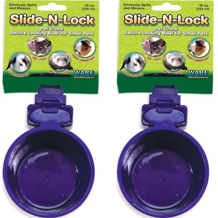 (2-Pack) Ware Plastic Slide-N-Lock Small Pet Crock, 10 Ounce - Assorted Colors