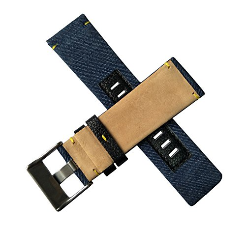 MSTRE 26mm Nylon and Calfskin Leather Watch Band Replacement Strap For Men's Diesel Watches (Blue) by MSTRE (Image #3)