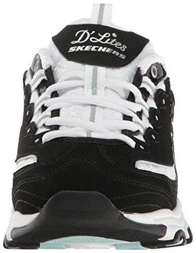 Skechers Sneakers Top Lace Women's White Biggest D'Lites Fan Low Black r7nFRrq1