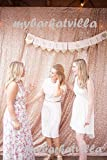TRLYC 4FTx6.5FT Champagne Sequin Backdrop, Shimmer Sequin Fabric Photography Backdrops Sequin Curtain for Wedding/ Party/Christmas(Champagne)
