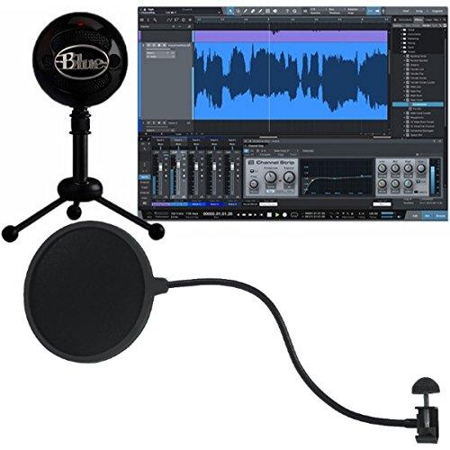 Blue Snowball Studio Micrófono USB portátil con software de grabación y paquete de filtro Pop Gooseneck