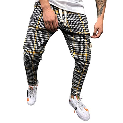 Mens Pants,2019 New Classic Drawstring Plaid Stripe Print Elastic Waist with Pocket (US:30, ()
