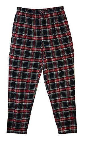 State O Maine Big and Tall Tartan Flannel Lounge Pant (Black L-T)