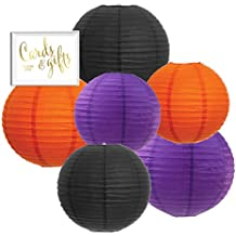 Andaz Press Hanging Paper Lantern Party Decor Trio Kit with Free Party Sign, Black, Orange, Purple, 6-Pack, For Halloween Classroom Home Office Dorm Room Decorations