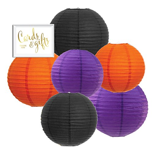 Andaz Press Hanging Paper Lantern Party Decor Trio Kit with Free Party Sign, Black, Orange, Purple, 6-Pack, For Halloween Classroom Home Office Dorm Room Decorations ()