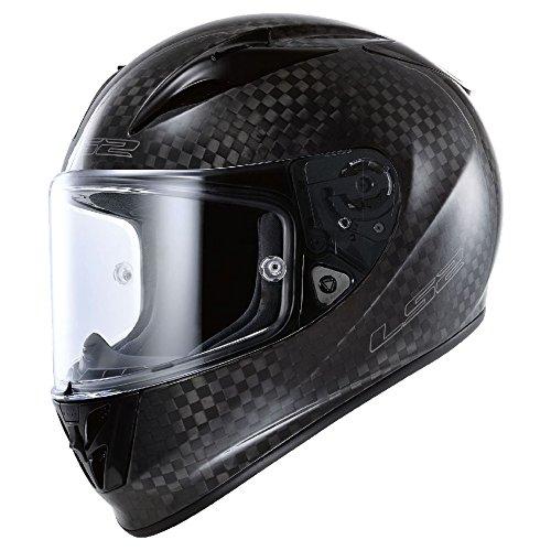 (LS2 Arrow Carbon Full Face Motorcycle Helmet (Black, Medium))