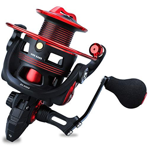 One Bass Fishing reels Light Weight Saltwater Spinning Reel - 39.5 LB Carbon Fiber Drag,12+1 BB Ultra Smooth All Aluminum Inshore Reel for Saltwater or FreshwaterR-Spider DL 3000