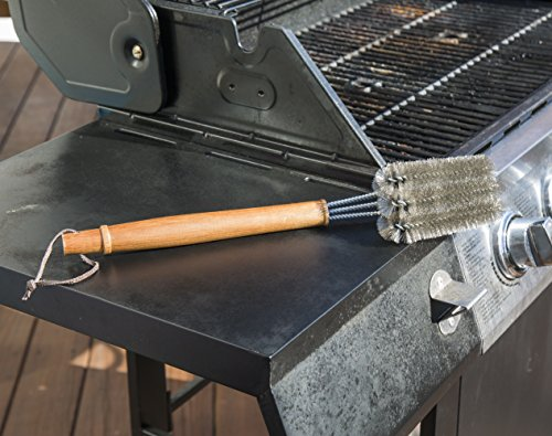 BBQ-Aid Grill Brush – Cleans All Angles, Extended, Large Wooden Handle and Stainless Steel Bristles – No Scratch Cleaning for Any Barbecue or Grill: Char Broil & Ceramic by BBQ-Aid (Image #3)