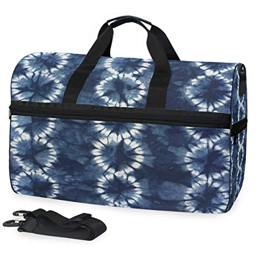 Indigo Fabric Hand Dyed Gym Bags for Men&Women Duffel Bag Casual Fashion Bag with Shoe Compartment