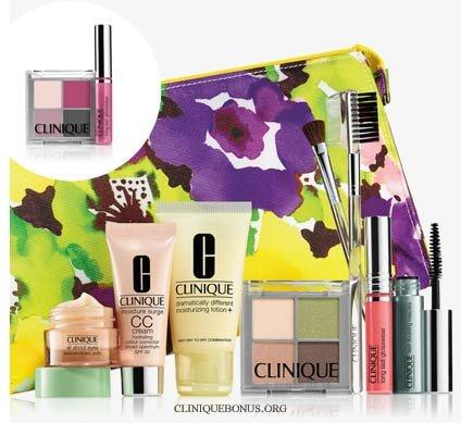 NEW 2015 Clinique 9 Pcs Makeup Skincare Gift Set with Brush Kit & More! ($85+ Value)