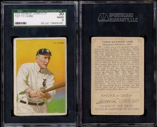 1912 T227 Series of Champions Regular (Baseball) Card# 3 Ty Cobb of the Detroit Tigers Good Condition