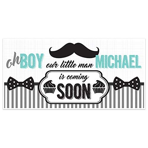 Oh Boy Little Man Baby Shower Banner Party Decoration Backdrop -