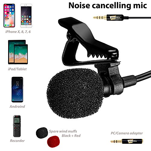 Lavalier Lapel Microphone with Easy Clip On System - Perfect for Recording Youtube Vlog Interview/Podcast - Best Lapel Mic for iPhone 5, 6, 6s, 7, 7 plus, 8, X iPad - Mic Vocal Kit