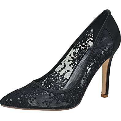 Loslandifen Women's Pointed Toe Flowers Stiletto Heel Lace Wedding Bridal Shoes(0608-10Lace35,heileisi)