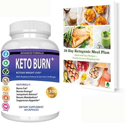 Keto Burn Ketosis Weight Loss 1300 MG, All Natural Ketogenic Appetite Suppressant Fat Burner, Boost Energy Focus Metabolism, with Raspberry Ketone Garcinia Cambogia Green Tea and More, Bonus Ebook