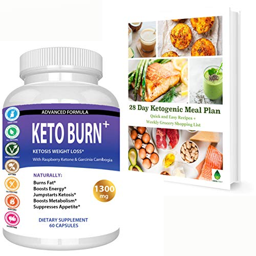 Keto Burn Ketosis Weight Loss 1300 MG, All Natural Ketogenic Appetite Suppressant Fat Burner, Boost Energy Focus Metabolism, with Raspberry Ketone Garcinia Cambogia Green Tea and More, Bonus Ebook (Best Appetite Suppressant 2019)