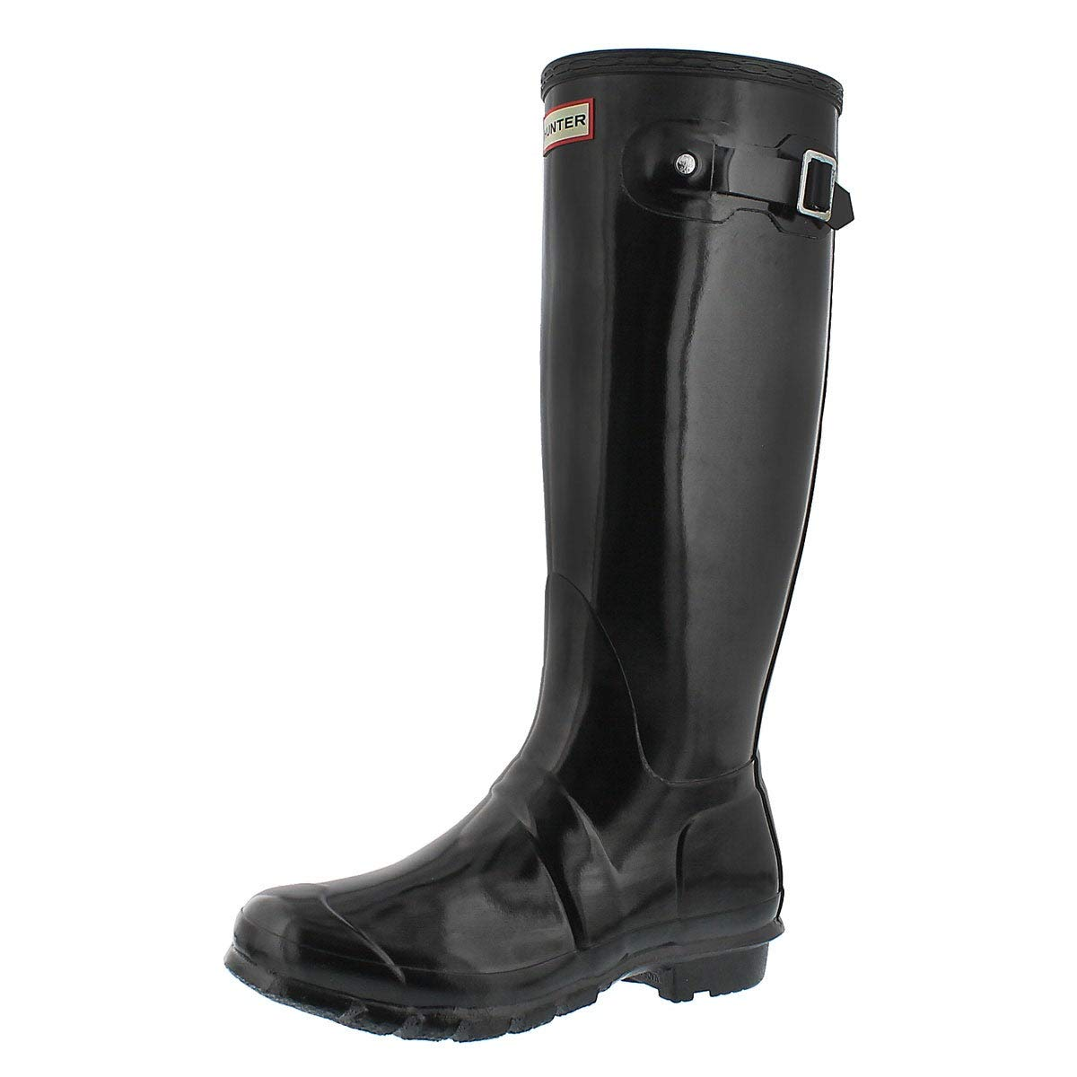 Hunter Boots Women's Original Tall Gloss Pull On Rain Boot Black 8 Medium US by Hunter