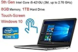 "2016 Newest Dell Inspiron Premium High Performance 15.6"" Touch-Screen Laptop - HD Display (1920×1080), 5th Gen Intel Core i5 (up to 2.70 GHz), 8GB DDR3L, 1TB HDD, DVD±RW, Webcam, Bluetooth, Windows 10"