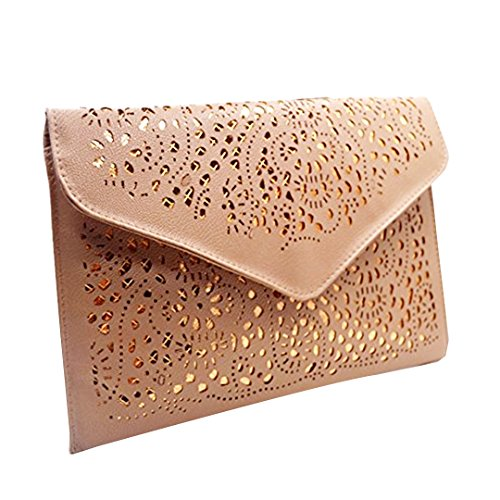 Mily Fashion Women Hollow Out Flower Envelop Clutch Gold Accent Pouch Tote Shoulder Bag Handbag