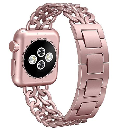 (AmzAokay Replacement bands Compatible for Apple Watch 38mm 42mm Stainless Steel Metal Cowboy Chain Strap Wrist Band for Apple Watch 40mm 44mm Series 4 3 2 1 Sport and Edition (Rose Gold, 38mm/40mm))