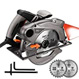 Circular Saw 7-1/4'' 15 Amp, 10 feet Core Length, Lightweight Aluminum Guard with Laser, 2 Blades,Max Cutting Depth 2-1/2''(90°), 1-4/5''(45°) - Tacklife