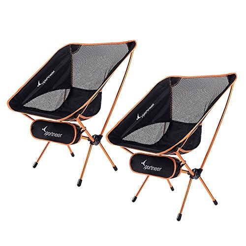 Sportneer Portable Lightweight Folding Camping Chair, 2-Pack for Backpacking, Hiking, Picnic Black Moon Fishing Backpack