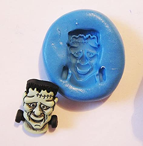 Frankenstein Flexible Food Grade Silicone Push Mold for Polymer Clay, Resin,wax,miniature (Frankenstein Cabochon)