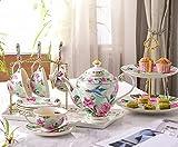 DHG English Afternoon Tea Tea Set Continental Tea Set with Tray Coffee Mug Set Tea Set Home,B