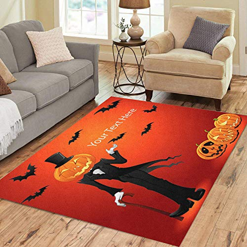 Semtomn Area Rug 5' X 7' Orange Treat of Halloween Jack O Lantern Trick Autumn Home Decor Collection Floor Rugs Carpet for Living Room Bedroom Dining Room]()