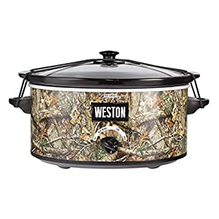 Weston Realtree Edge 5 Quart Portable Slow Cooker, Stainless Steel (03-2100-RE)