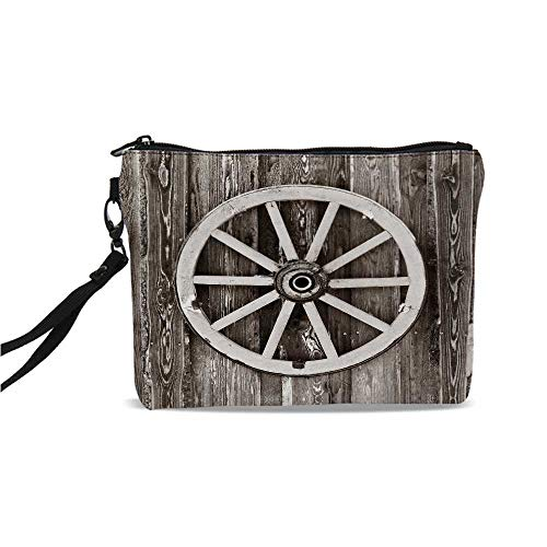 "Barn Wood Wagon Wheel Simple Cosmetic Bag,Retro Wheel on Timber Wall Barn House Village Cart Circle Decorative for Women,9""L x 1.5""W x 6.2""H"