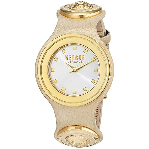 Versus by Versace Women's 'Carnaby Street' Quartz Stainless Steel and Leather Casual Watch, Color Beige (Model: SCG030016)