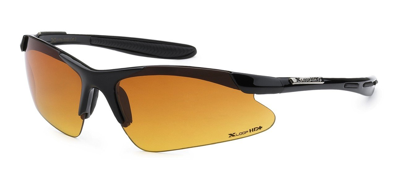 Xloop HD Polycarbonate Men Women Half Frame Outdoor Sport Eyewear Sunglasses, Black