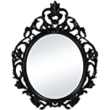 Baroque Style Oval Wall Mirror in (Black)