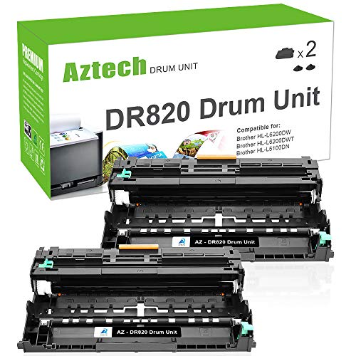 Aztech Compatible Drum Unit Replacement for Brother DR820 DR-820 Drum (Black, 2-Packs)