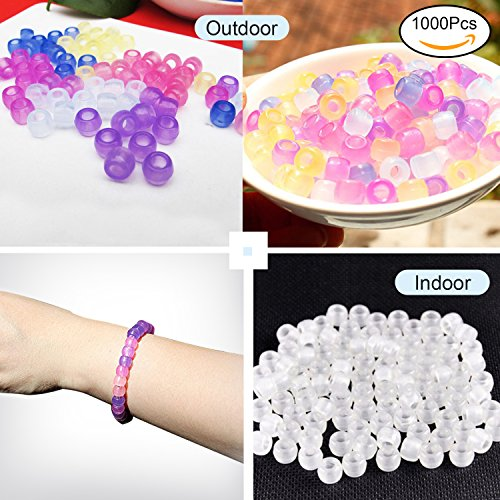 TSLIKANDO(TM) Pack of 1000 Multi Color Plastic UV Beads, Clear Beads Color Magically Changing UV Reactive Pony Beads for Jewelry Making
