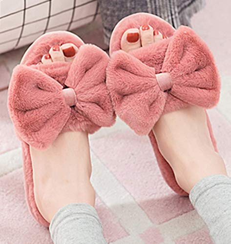 House Slippers Bows Wine Red Plush Indoor Cute C'wait Womens Toe Slippers Open Big nxaqw8p8E0