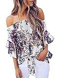Asvivid Womens Fashion Bohemian Floral Chiffon Tee Off Shoulder Tube Bell Sleeve Loose Tops Plus Size 2X Purple