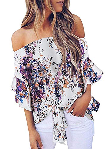(Asvivid Womens Boho Floral Off The Shoulder Flare Bell Sleeve Tops Ladies Loose Chiffon Office Blouses M Purple )